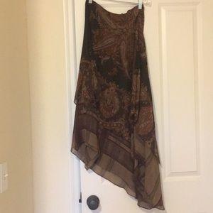 Ralph Lauren Silk Skirt Sz P Asymmetric hem